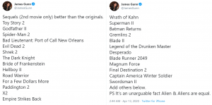 James Gunn's List of Best Sequels