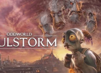 Oddworld: Soulstorm official poster with loead Abe on the forefront.