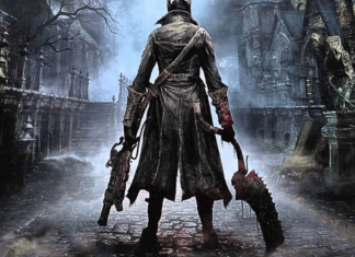 Bloodborne protagonist with his weapons.
