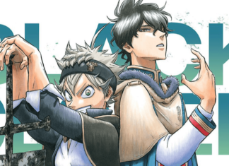 Black clover central characters standing back to back.